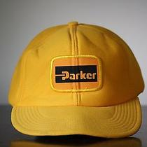 Vintage Parker Hydraulics Farm Hat Farming Agriculture Yellow Baseball Truck Hat Photo