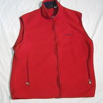 Vintage Patagonia Synchilla Fleece Red Full Zip Vest Base Layer Hiking Jacket Xl Photo