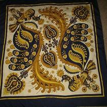 Vintage Peacock Scarf Skyros Hermes Abadie Signed 100% Silk-Gold-White-Blue 35 Photo