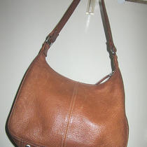 Vintage Pebbled Leather Rich Camel Women's Fossil Organizer Handbag 75082 Photo