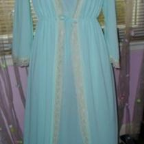 Vintage Peignoir Set Nylon Medium Aqua Vintage Lingerie Photo