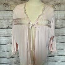 Vintage Pink Blush Bed Jacket With Satin Tie Sheer Trim Lace Slinky Lingerie  Photo