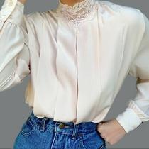 Vintage Pleat Front Blouse Blush Pink Lace Neck M Photo