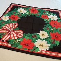 Vintage Poinsettia Holiday Ribbon Scarf 34 Inch Scarf by Avon 1980s Photo