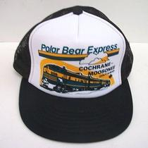 Vintage Polar Bear Express Railroad Snapback Mesh Trucker Baseball Cap Hat Train Photo