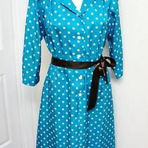 Vintage Polka Dot Aqua & White 'I Love Lucy' Dress W/ Semi Full Skirt Size S-Med Photo