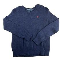 Vintage Polo Ralph Lauren Mens v Neck 100% Lambs Wool Navy Sweater Red Pony Sz M Photo