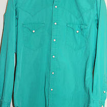 Vintage Polo Western Ralph Lauren Mens Button Down Shirt Sz M Turqoise Aqua L/s Photo