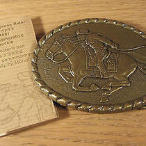 Vintage Pony Express 1981 Belt Buckle Mens Jewelry Brass Tone Commemorative Ride Photo