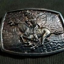 Vintage Pony Express Belt Buckle Brass Photo