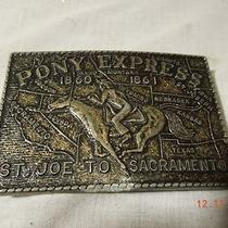 Vintage Pony Express  Heavy Brass Western Belt Buckle Bt10 Photo