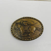 Vintage Pony Express Rider Brass Belt Buckle Photo