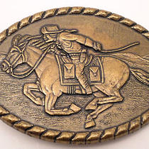 Vintage Pony Express Rider Mervyn's 1981  Western Cowboy Horse Belt Buckle  Photo