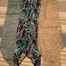 Vintage Ponytail Silk Scarves Lot 3 Pink Blue Anne Klein Laurent Dherval Paris Photo