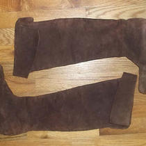 Vintage Prada Brown Tall Pull on Cuff Uncuff Mod Suede Leather Slouchy Boots 6.5 Photo