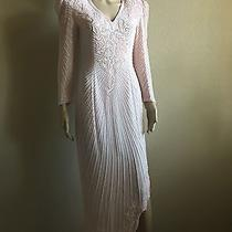 Vintage Prom Blush Pink Sequin Evening Party Dress Size 8 a.j.bari Silk Pearls  Photo