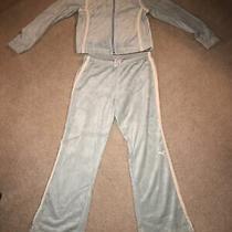 Vintage Puma Velour 2 Piece Track Suit Baby Blue W/white Stripe. Women Size L Photo