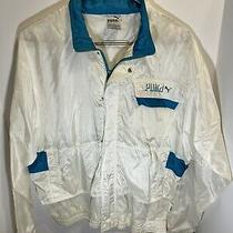 Vintage Puma Windbreaker Jacket W/ Packable Hoodie - White/teal - Mens Size M Photo