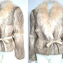 Vintage Rabbit Big Mongolian Curly Lamb Collar Bomber Jacket  Photo