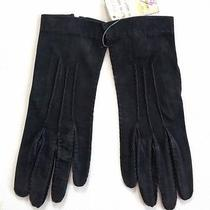 Vintage Ralph Lauren England Black Suede Leather Gloves 7 New Old Stock Photo