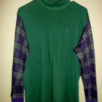 Vintage Ralph Lauren Polo Classic Green Blue Plaid Long Sleeve Shirt Large Photo
