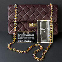 Vintage Rare Authentic Chanel Handbag in Wine Color With Document Card Photo
