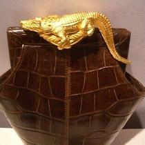 Vintage Rare Glen Miller for Ann Turk Croc Leather Shoulder  Bag Gold Crocodile Photo