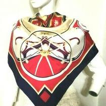 Vintage Rare Hermes  Washington's Carriage Scarf 100% Silk Caty Blue Red 1080a Photo