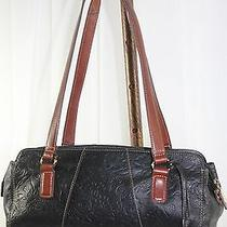 Vintage Rare Unique Fossil Soft Luxurious Black Tooled Leather Tote Zb2423 Photo