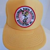 Vintage Rare Yellow Patch Mesh Columbia Rural Electric Association Inc Hat Cap Photo
