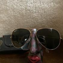 Vintage Ray Ban Aviator 62-14.green Lens Original Large Red Lined case.polarized Photo