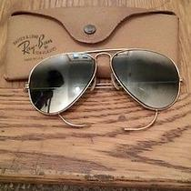 Vintage Ray-Ban Aviator Sunglasses b&l With Leather Case 1/10 12th Gf Used Photo