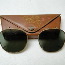 Vintage Ray Ban b&l 50 Clip on Sunglasses With Case Photo