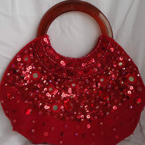 Vintage Red Boho Bijoux Terner Purse Bag Bakelite Handles Beads Sequins  Photo