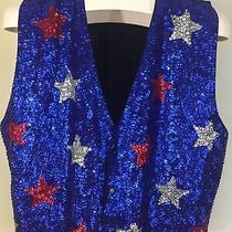 Vintage Red White Blue Stars Americana Patriotic Sequined Vest Large Costume Photo