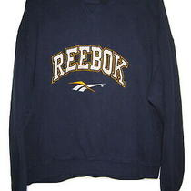 Vintage Reebok 90s Sweatshirt Big Logo Blue Spell Out Shirt Mens M Medium Photo