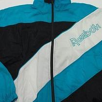 Vintage Reebok Men's Nylon Windbreaker Jacket Sz L Large Turquoise/black/white Photo