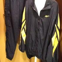 Vintage Reebok Navy Yellow Colorblock Nylon Windbreaker Pants Track Suit Large Photo