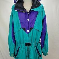 Vintage Rei Elements Womens Anorak Rain Jacket Windbreaker Size 14 Green Hooded Photo