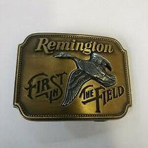 Vintage Remington Arms Belt Buckle First in the Field Canada Goose Sid Bell 1980 Photo