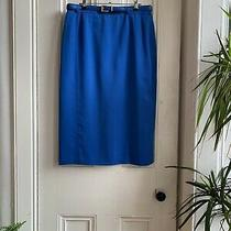 Vintage Retro 50s 80s Blue Basler Belt Woven Urban Pencil Midi Knee Skirt 40 12 Photo