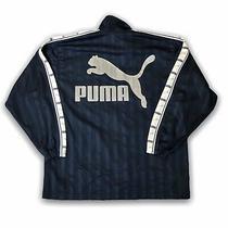 Vintage Retro 80s 90s Festival Spell Out Puma Track Top Jacket - Medium - Blue Photo