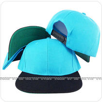 Vintage Retro Blank Aqua Blue Black Snapback Hat Cap Photo