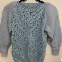 Vintage Retro Mod Camilla Knitted Pearl Jumper Baby Blue  Size 40  Chest Photo