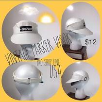 Vintage Retro Parker White Visor White Pro Shop Line Photo