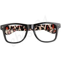 Vintage Retro Style Black Red Leopard Prints Glasses Frame Fancy Dress Photo