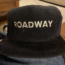 Vintage Roadway Express Hat Blue Corduroy Adjustable 1970s Trucker Hat Cap Nwot Photo