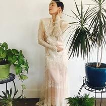 Vintage Romantic Boho Delicate Ivory Lace & Blush Beaded Neck Wedding Dress 6 Photo