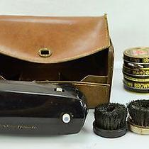Vintage Ronson Roto-Shine Magnetic in Case With 6 Kiwi & 2 Jars of Shoe Polish  Photo