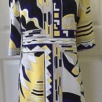 Vintage Sara Campbell Women 100%  Silk Dress 3/4 Sleeve Multi Size S 6 8 - Exc Photo